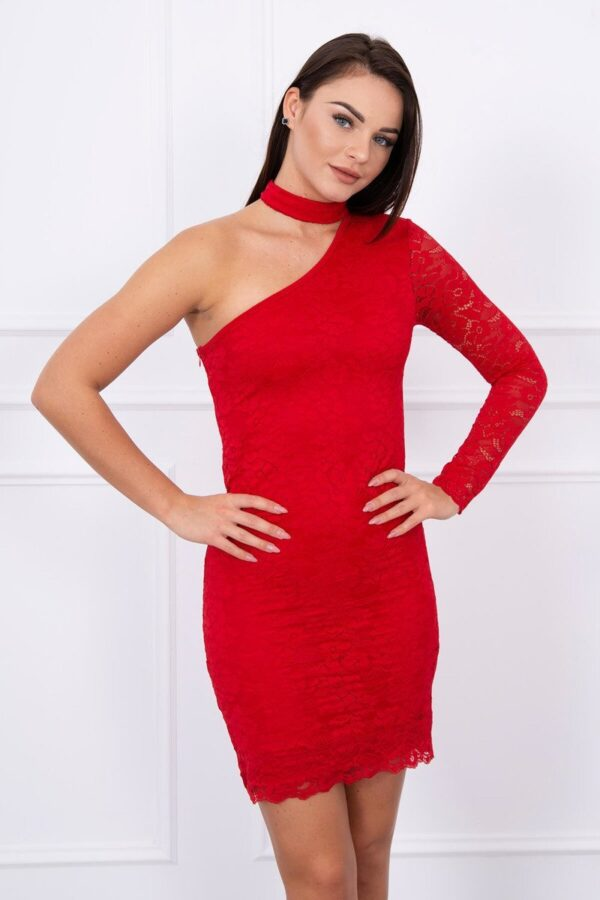 eng pl One shoulder lace dress red 13939 2