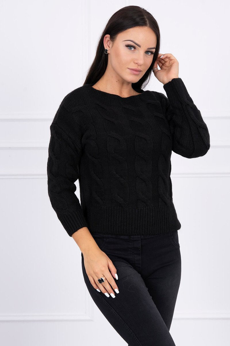 eng pl Short sweater with longer back black 15445 1 1