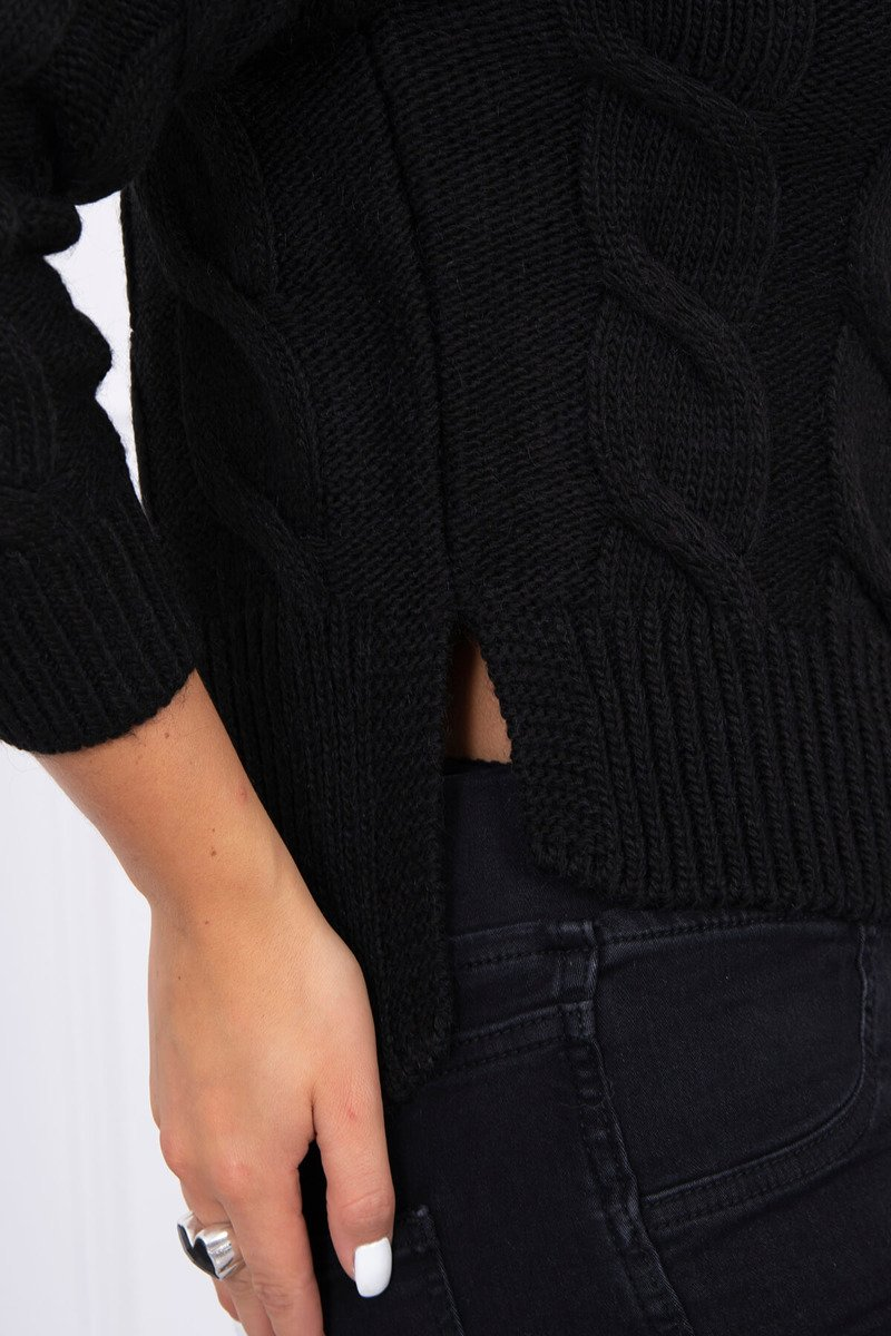 eng pl Short sweater with longer back black 15445 3
