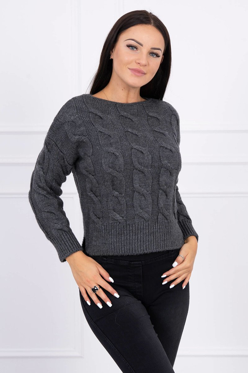 eng pl Short sweater with longer back graphite 15448 1
