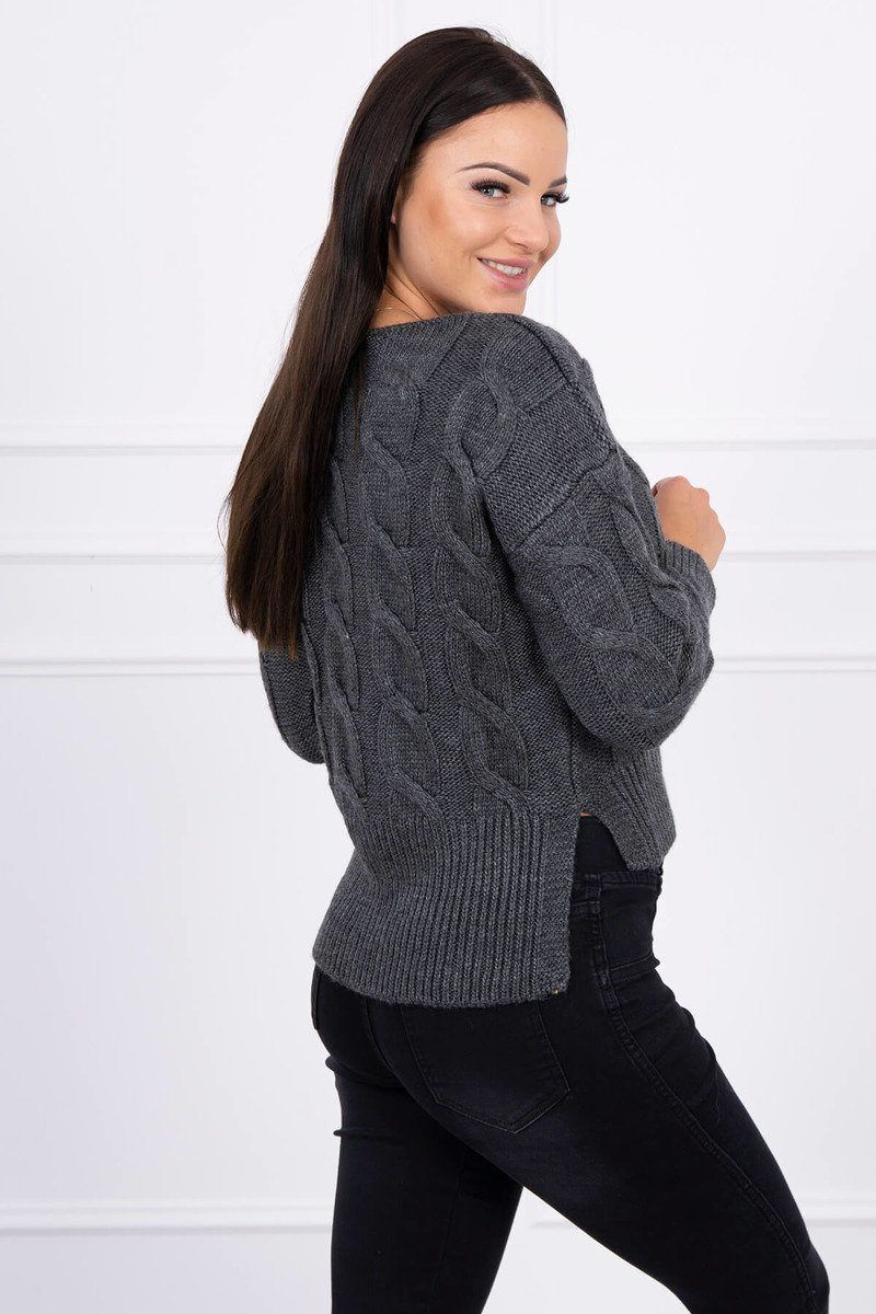 eng pl Short sweater with longer back graphite 15448 2