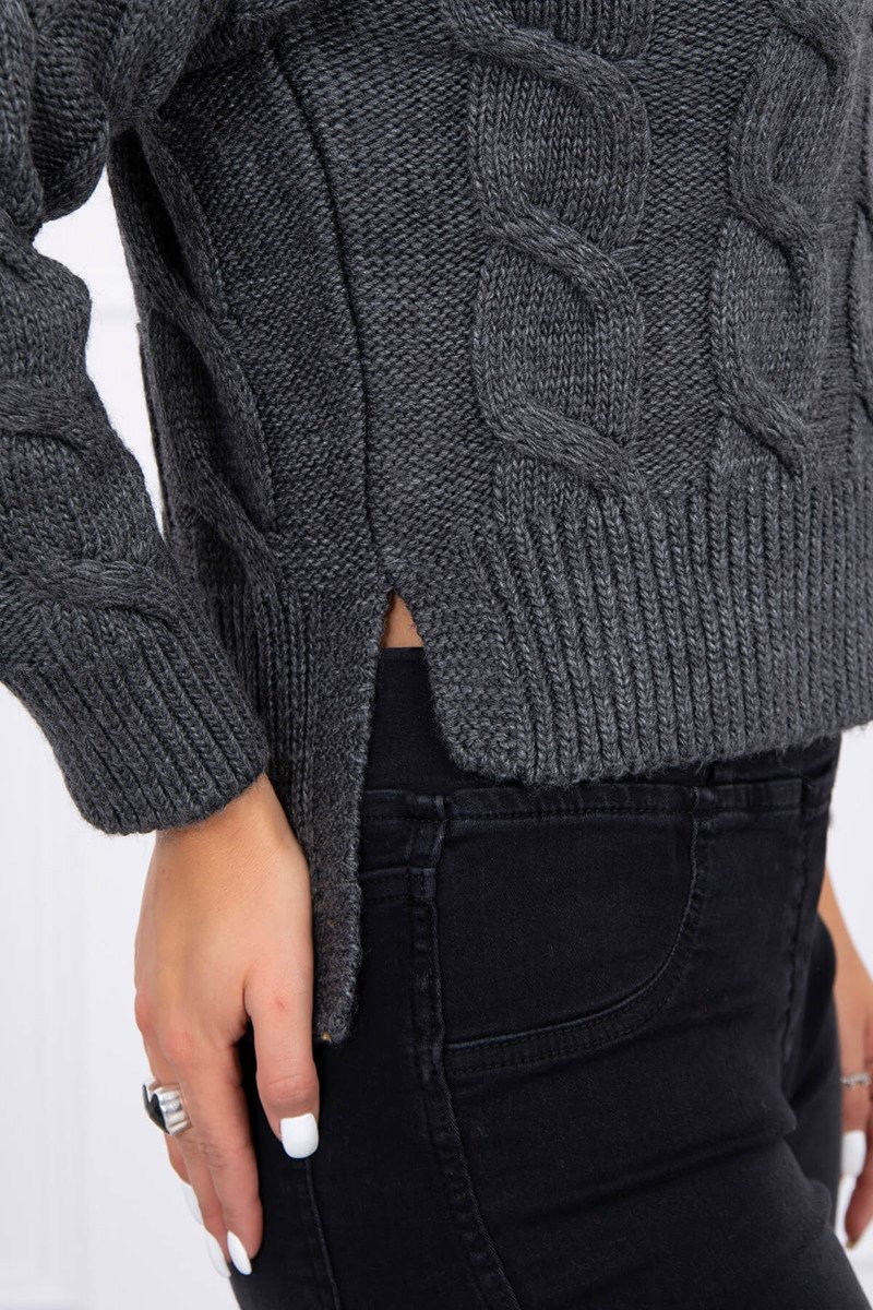 eng pl Short sweater with longer back graphite 15448 3