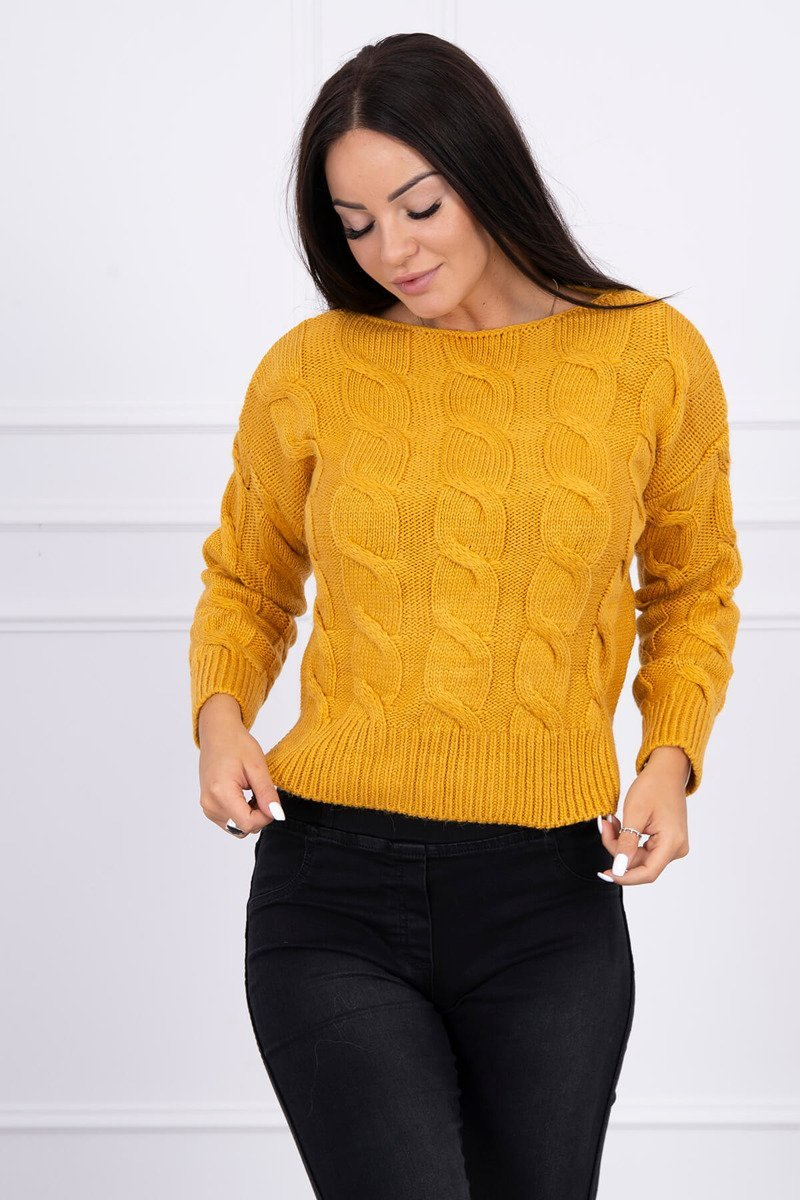 eng pl Short sweater with longer back mustard 15443 1