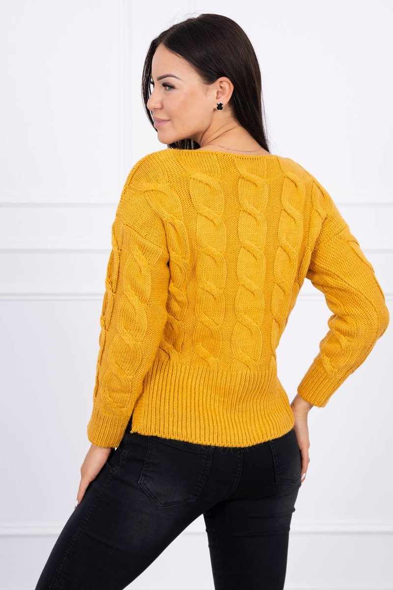 eng pl Short sweater with longer back mustard 15443 2