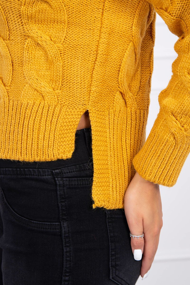 eng pl Short sweater with longer back mustard 15443 3