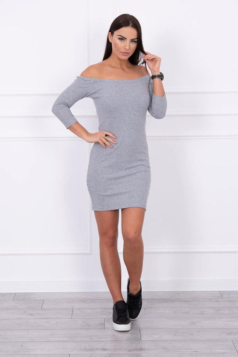 eng pl Striped dress with a round neckline gray 14208 1