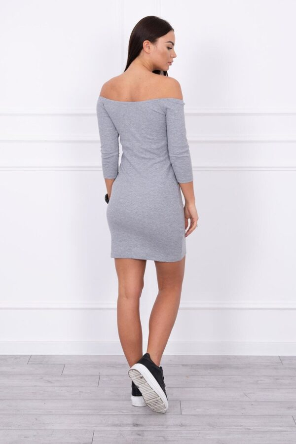 eng pl Striped dress with a round neckline gray 14208 2