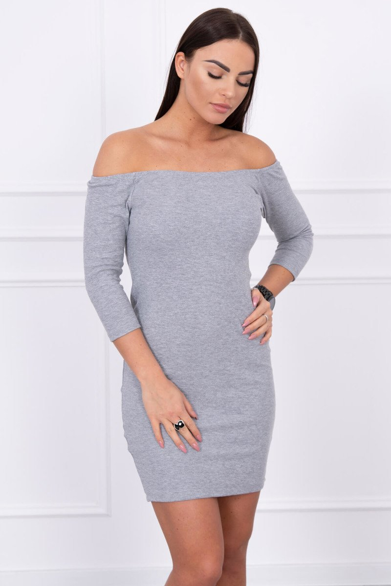 eng pl Striped dress with a round neckline gray 14208 3