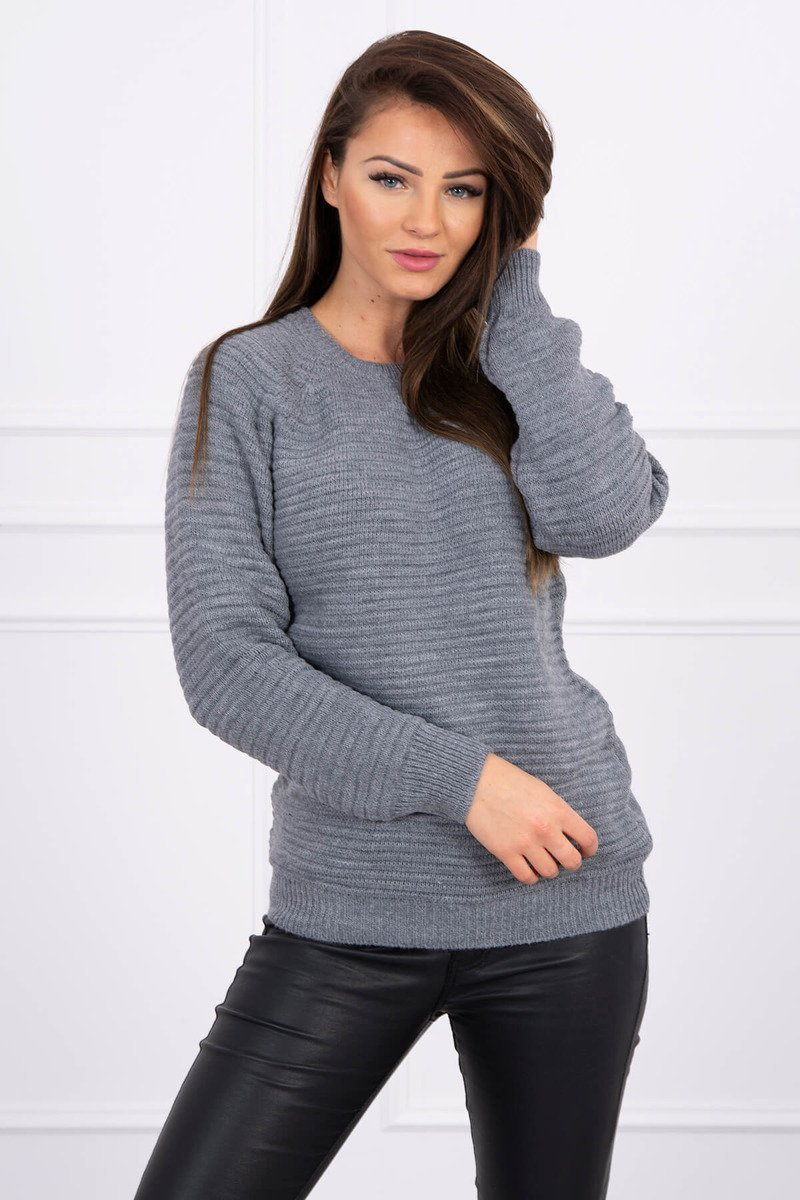 eng pl Striped sweater graphite 16110 1