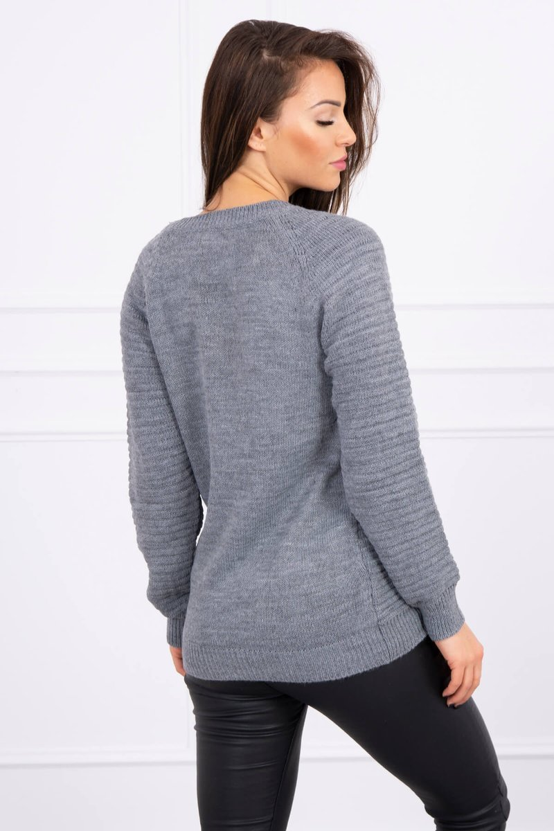 eng pl Striped sweater graphite 16110 2