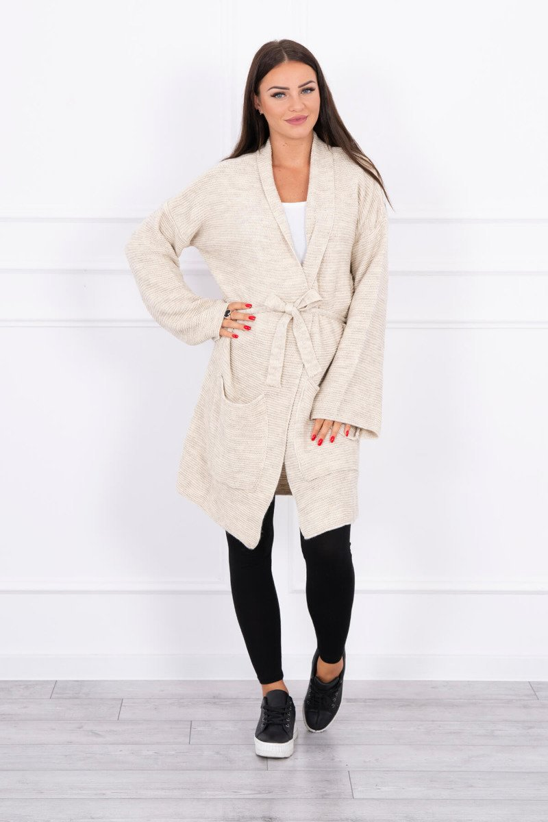 eng pl Sweater tied with pockets light beige 15658 1