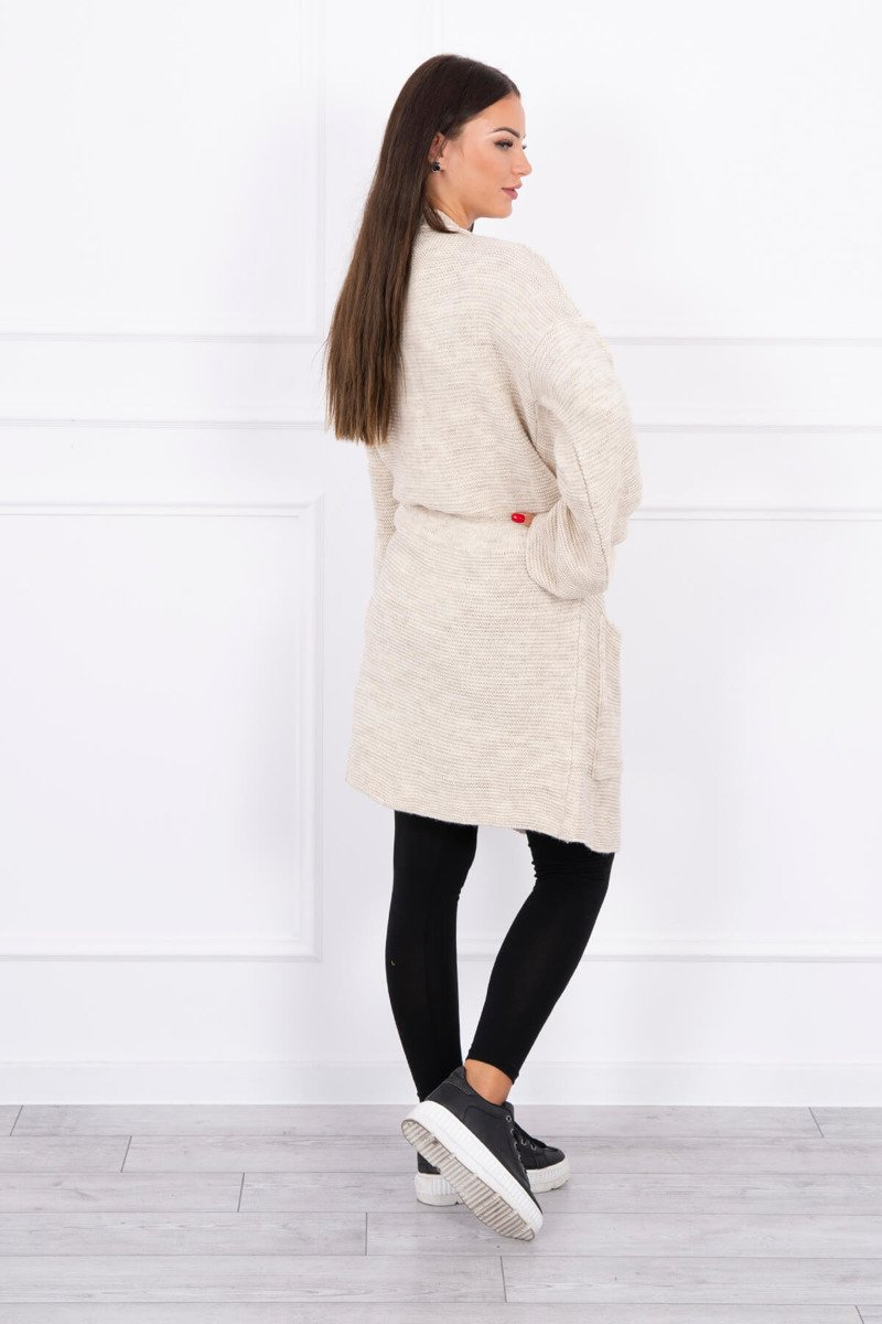 eng pl Sweater tied with pockets light beige 15658 2