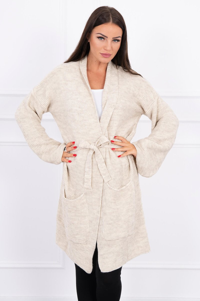 eng pl Sweater tied with pockets light beige 15658 3