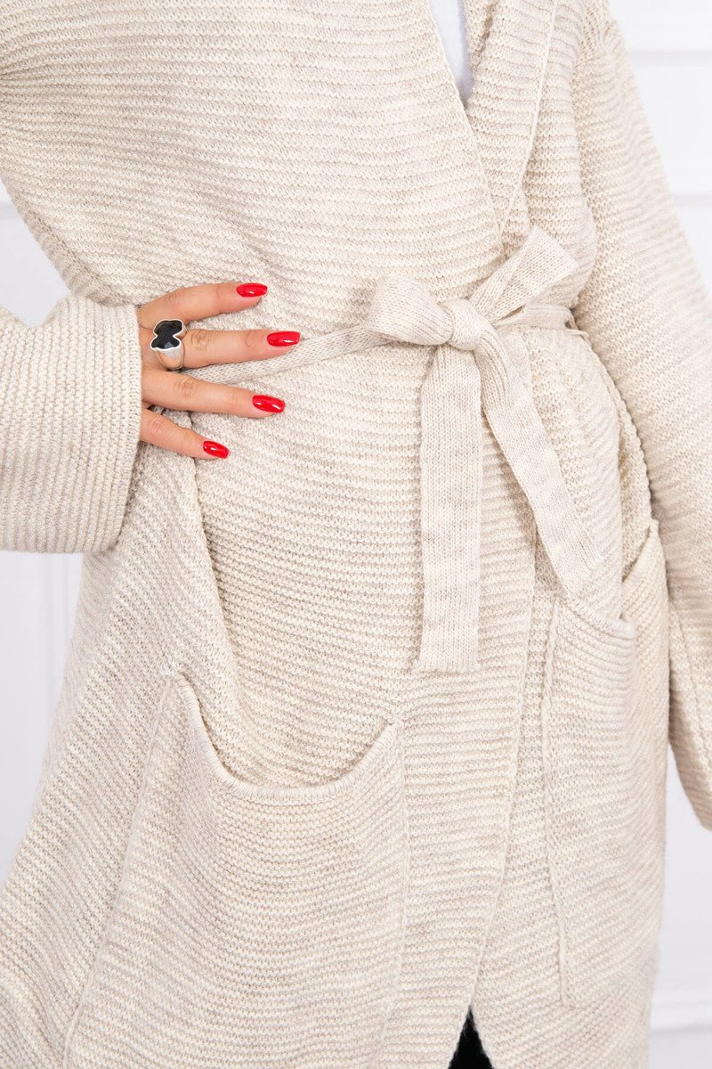 eng pl Sweater tied with pockets light beige 15658 4