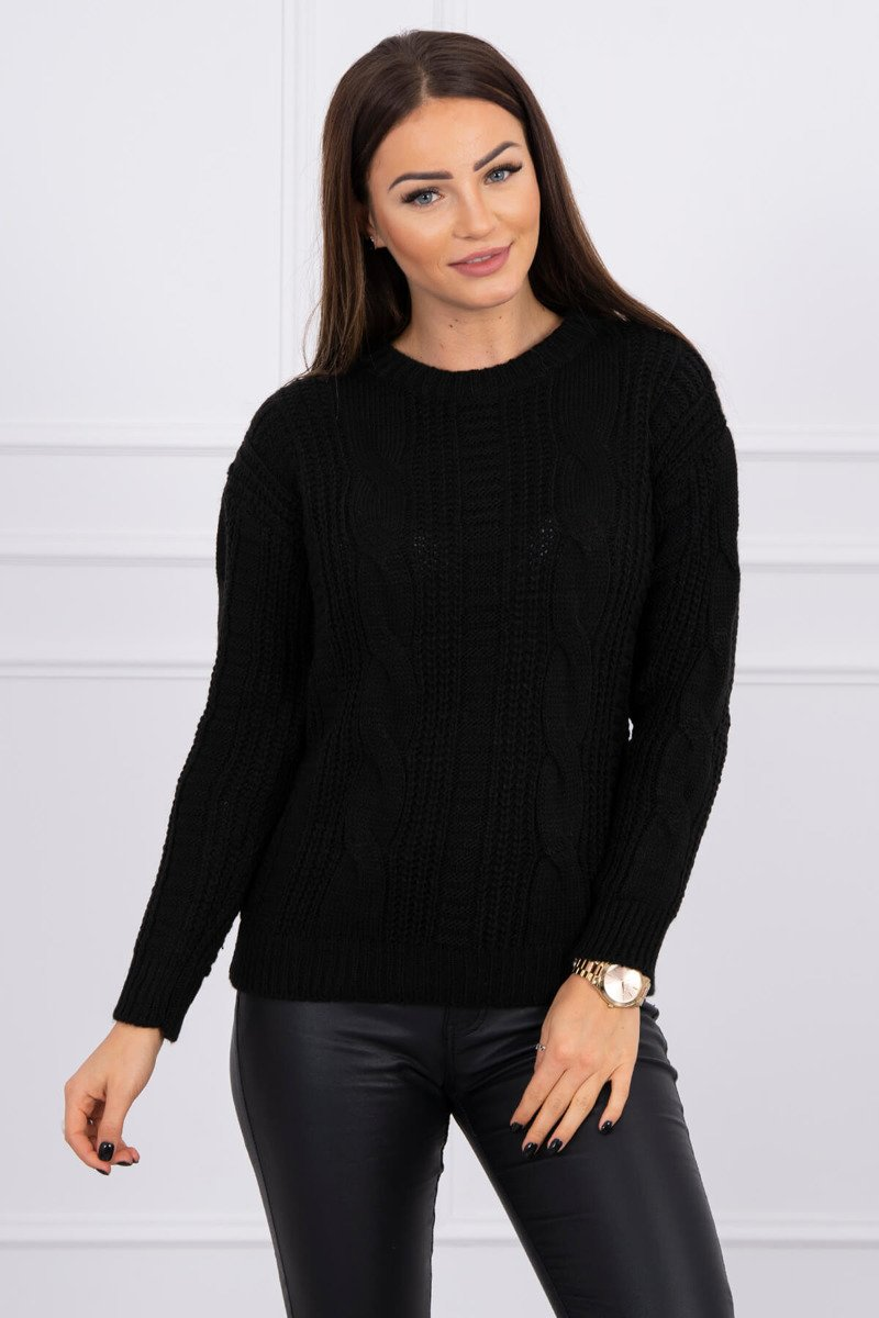 eng pl Sweater with a decorative weave black 16138 1