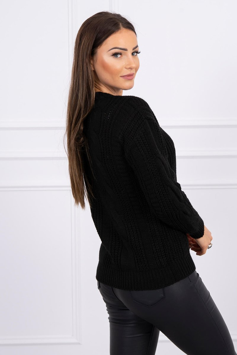 eng pl Sweater with a decorative weave black 16138 2