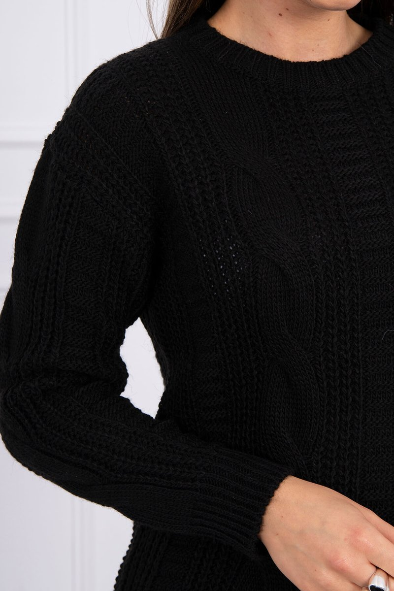 eng pl Sweater with a decorative weave black 16138 3
