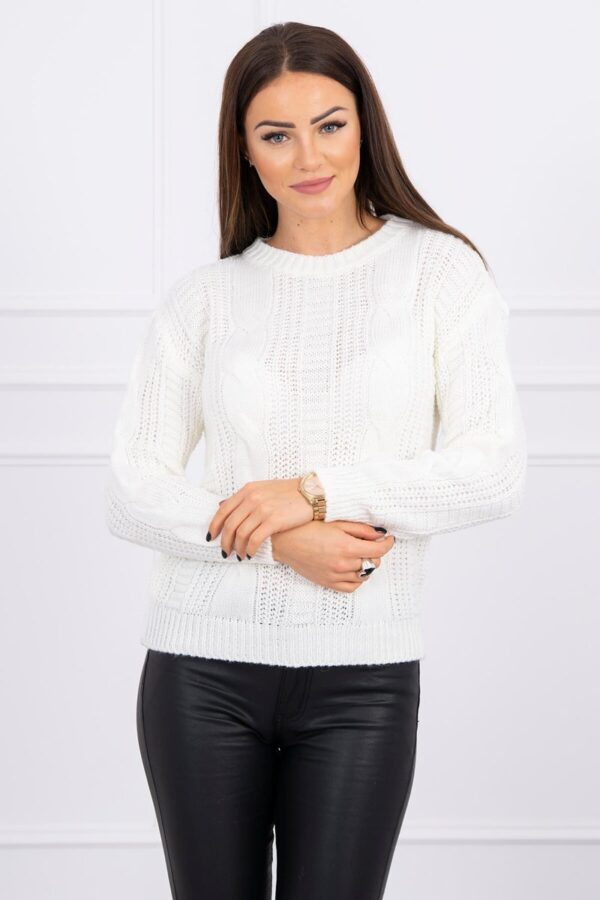 eng pl Sweater with a decorative weave ecru 16143 1