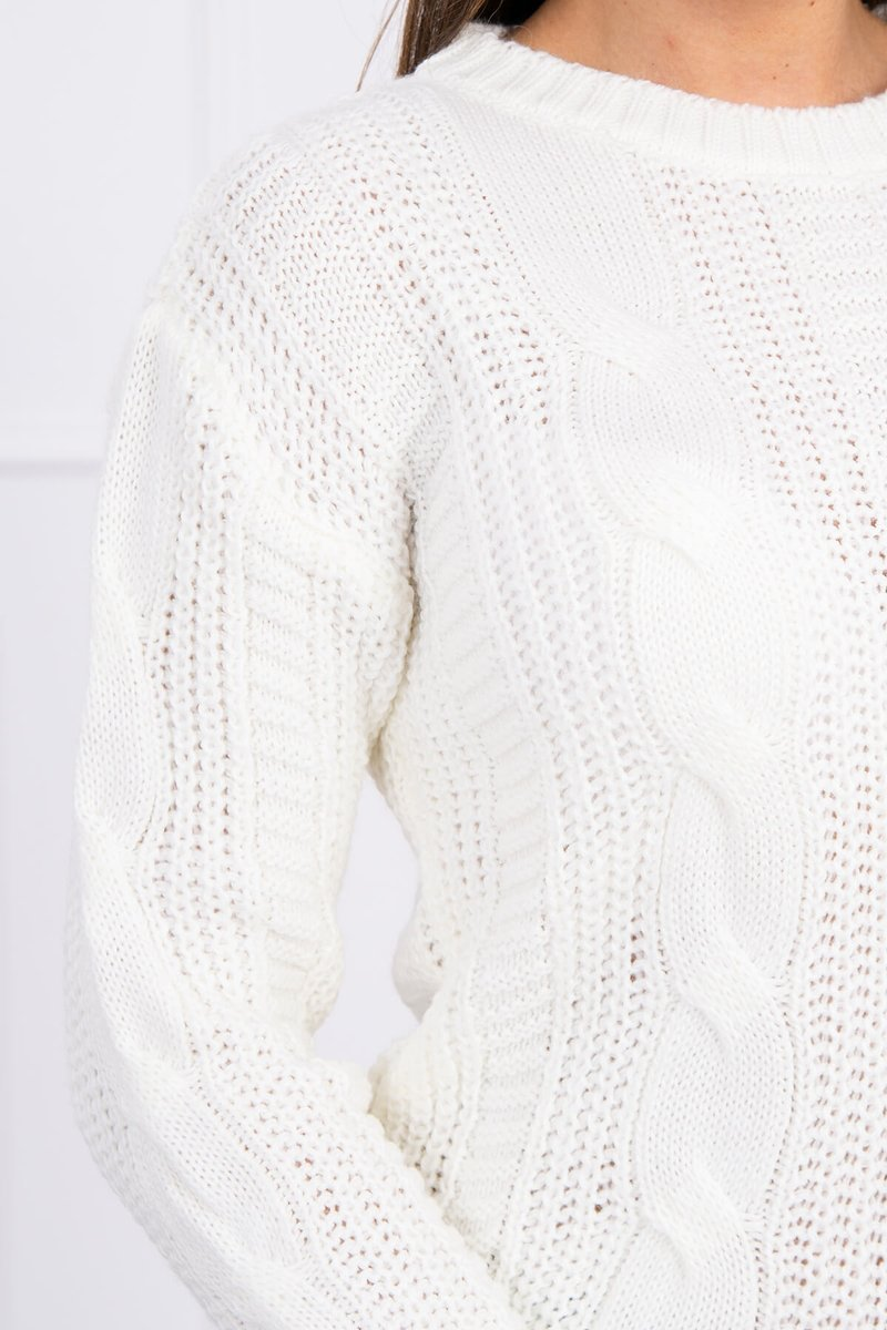 eng pl Sweater with a decorative weave ecru 16143 2 1