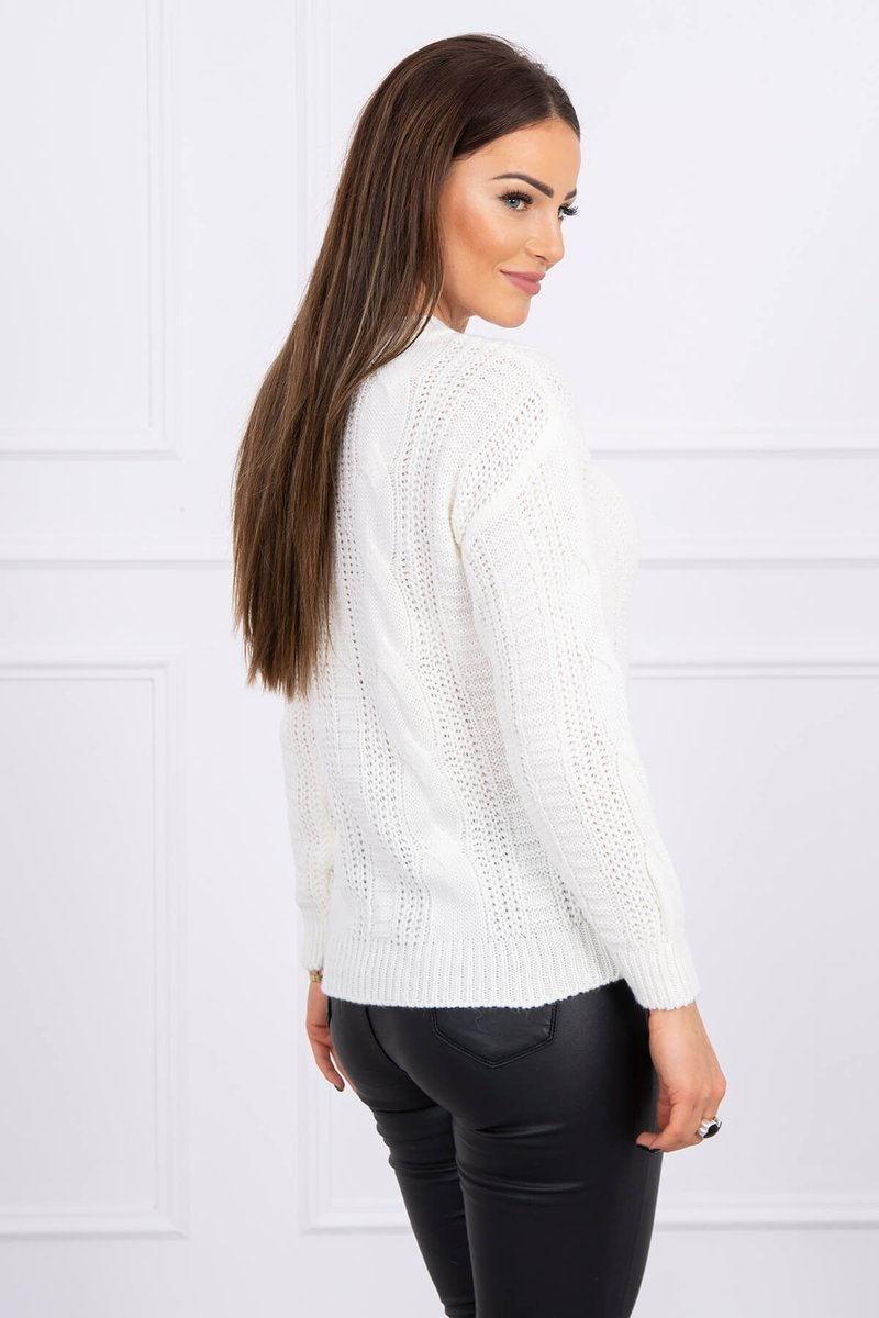 eng pl Sweater with a decorative weave ecru 16143 3 1