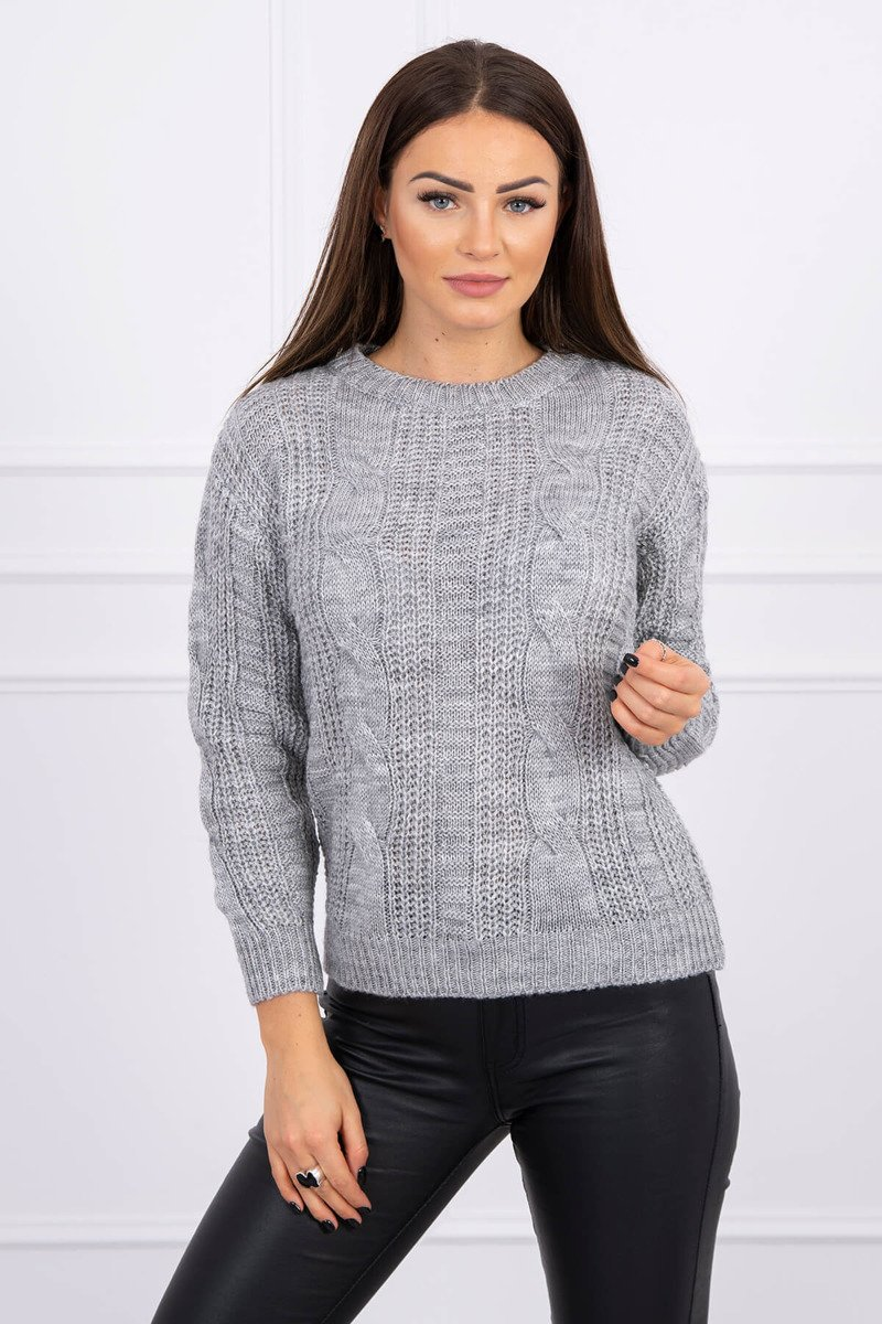 eng pl Sweater with a decorative weave gray 16140 1