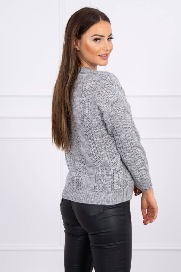 eng pl Sweater with a decorative weave gray 16140 2