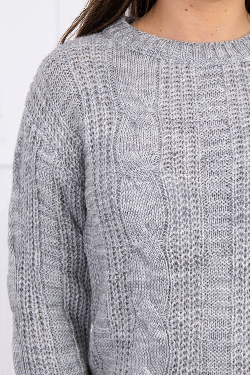 eng pl Sweater with a decorative weave gray 16140 3