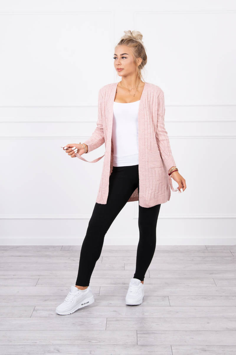 eng pl Sweater with a weave in vertical stripes powdered pink 18138 1