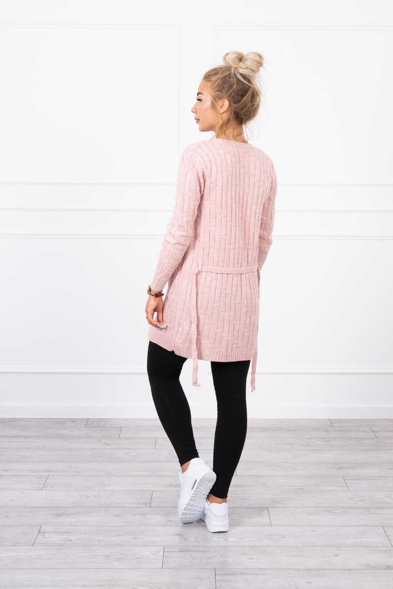 eng pl Sweater with a weave in vertical stripes powdered pink 18138 2