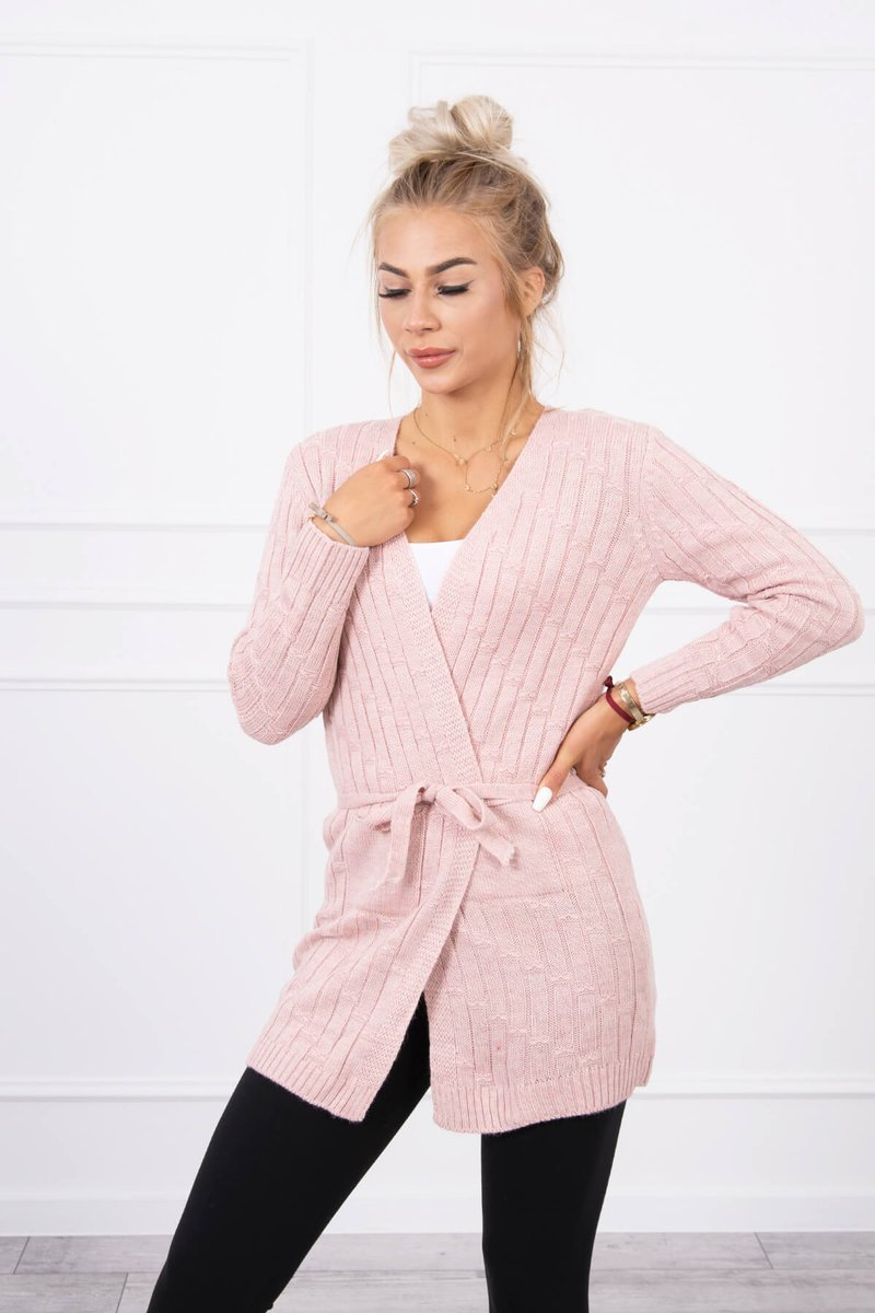 eng pl Sweater with a weave in vertical stripes powdered pink 18138 3