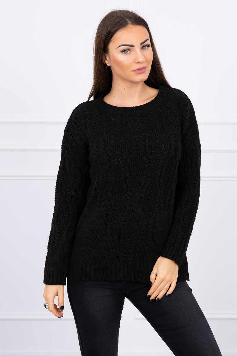 eng pl Sweater with an openwork weave black 16192 1