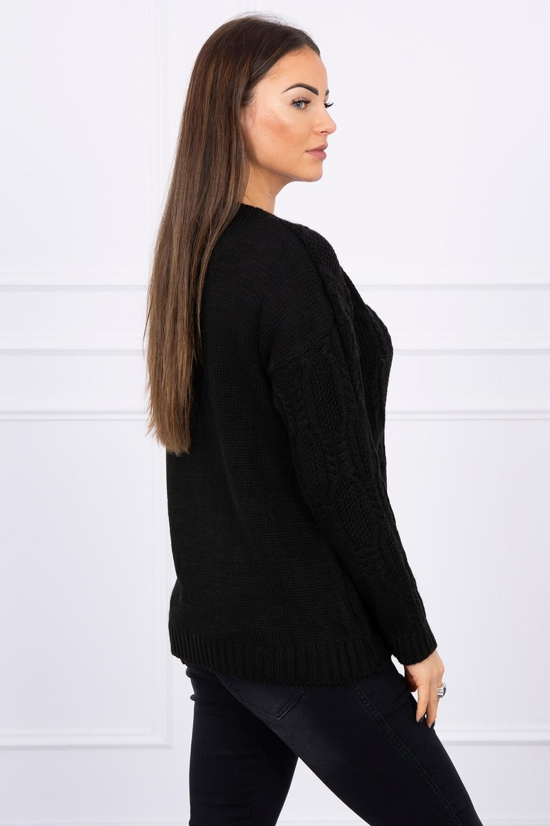 eng pl Sweater with an openwork weave black 16192 2