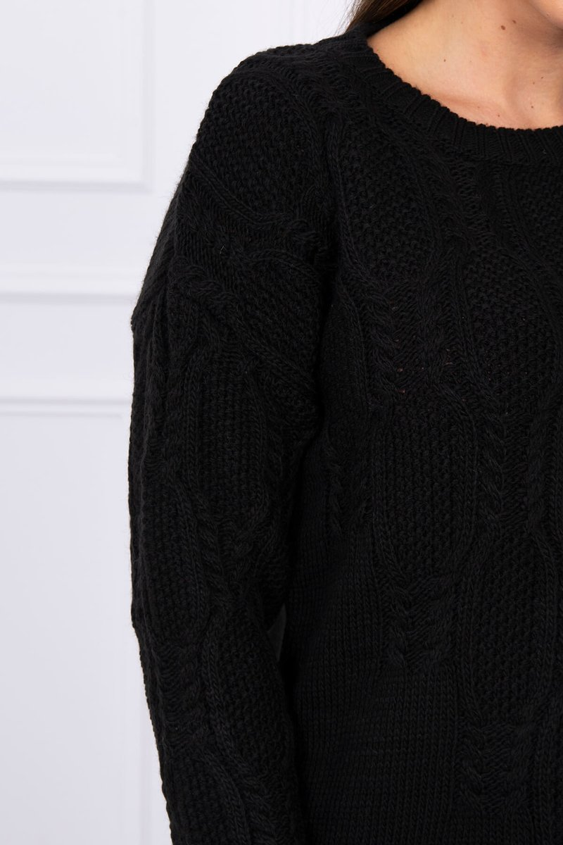 eng pl Sweater with an openwork weave black 16192 3