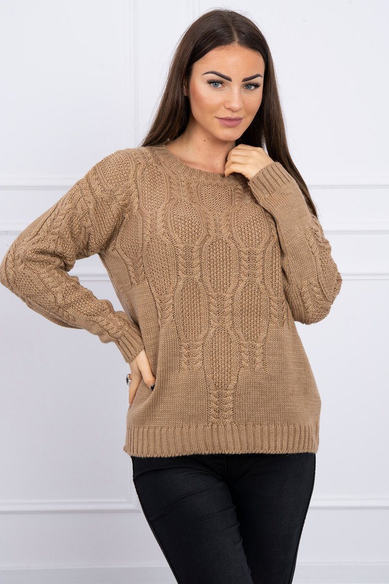 eng pl Sweater with an openwork weave camel 16188 1
