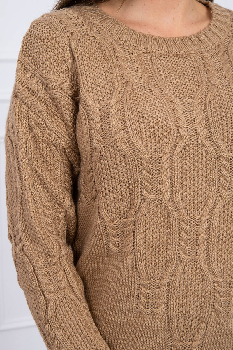 eng pl Sweater with an openwork weave camel 16188 2
