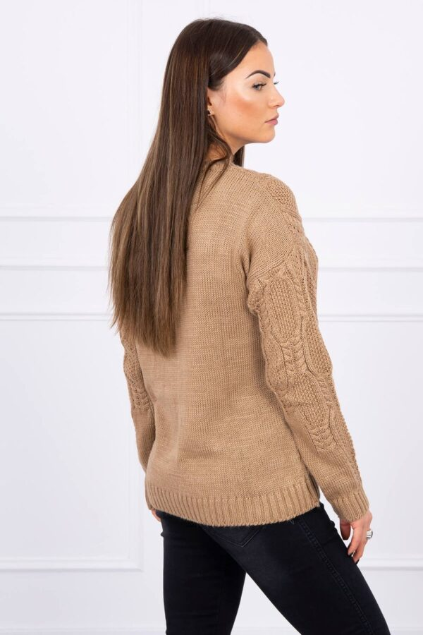 eng pl Sweater with an openwork weave camel 16188 3
