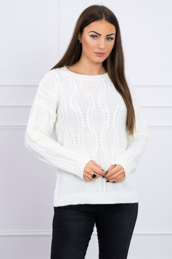 eng pl Sweater with an openwork weave ecru 16194 1