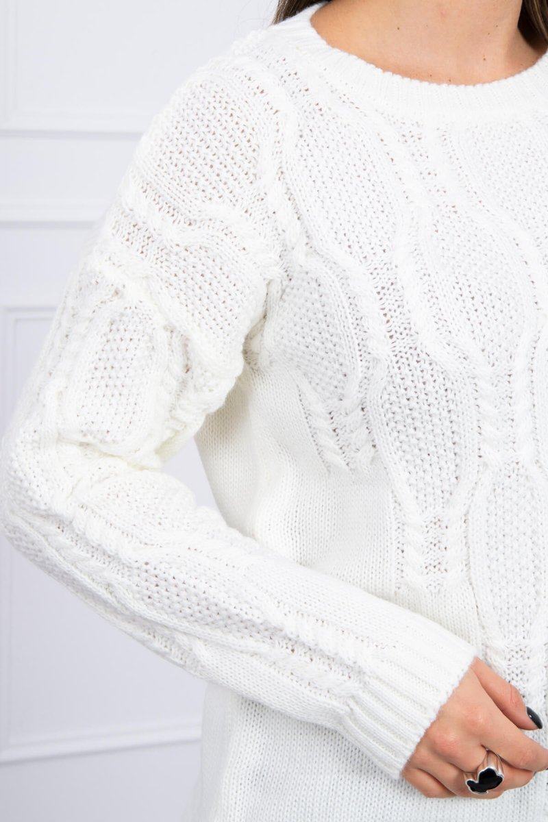 eng pl Sweater with an openwork weave ecru 16194 2