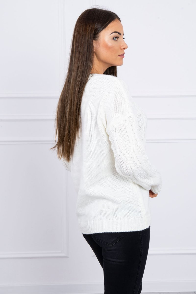 eng pl Sweater with an openwork weave ecru 16194 3