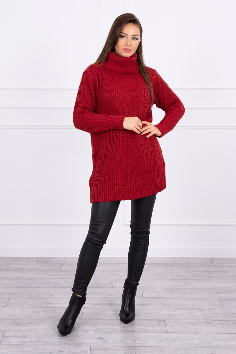 eng pl Sweater with golf burgundy 16116 1 2