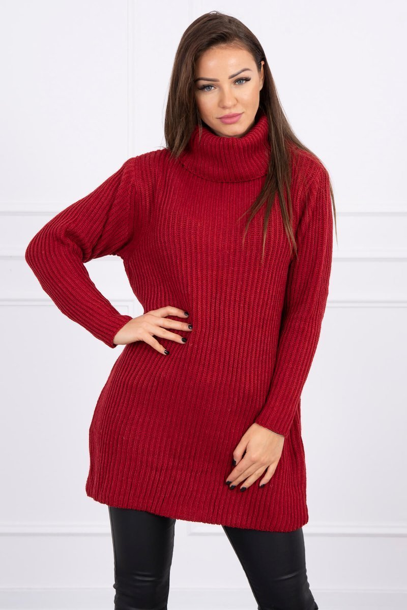 eng pl Sweater with golf burgundy 16116 2 2