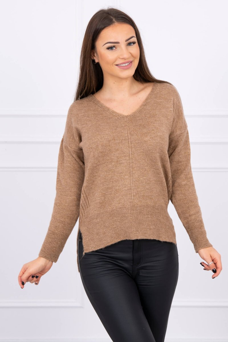 eng pl Sweater with longer back and neckline V cappuccino 16216 1