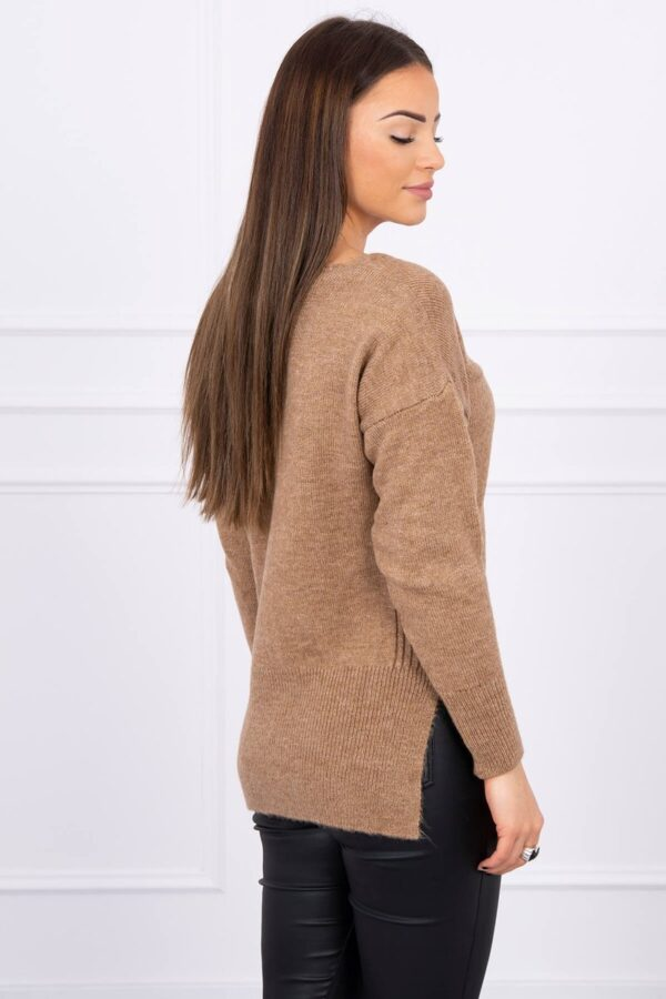 eng pl Sweater with longer back and neckline V cappuccino 16216 2
