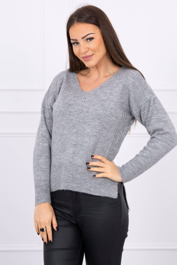 eng pl Sweater with longer back and neckline V gray 16218 1