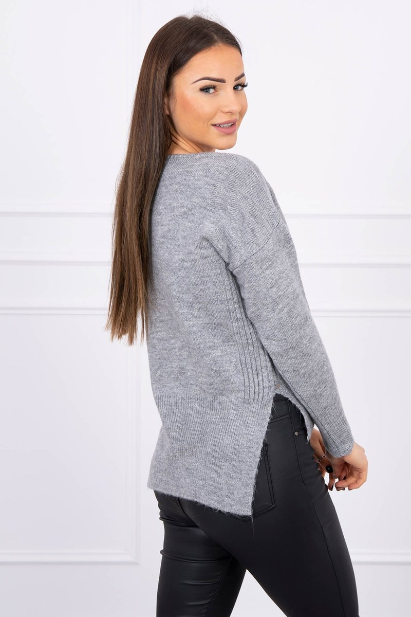 eng pl Sweater with longer back and neckline V gray 16218 2