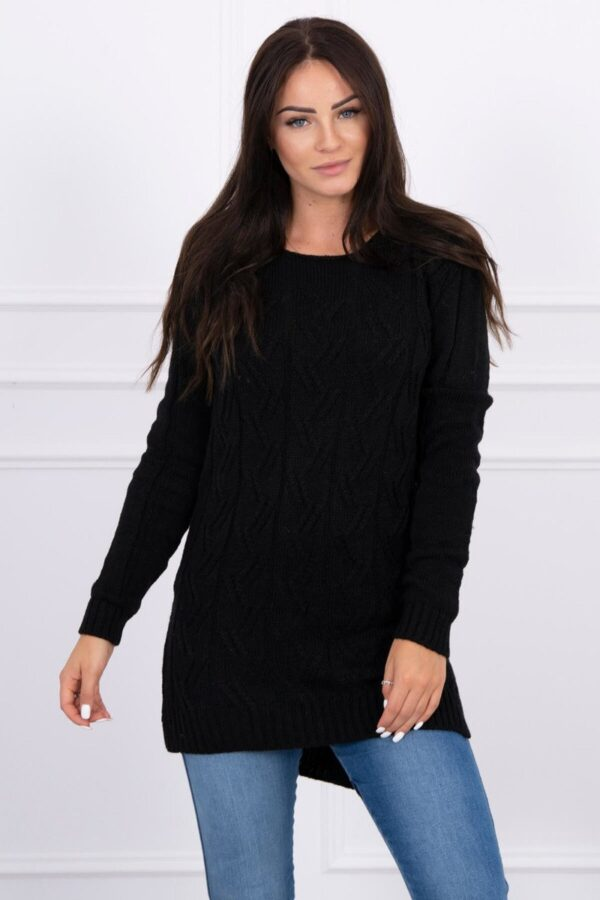 eng pl Sweater with longer back and weave in braid black 15537 1