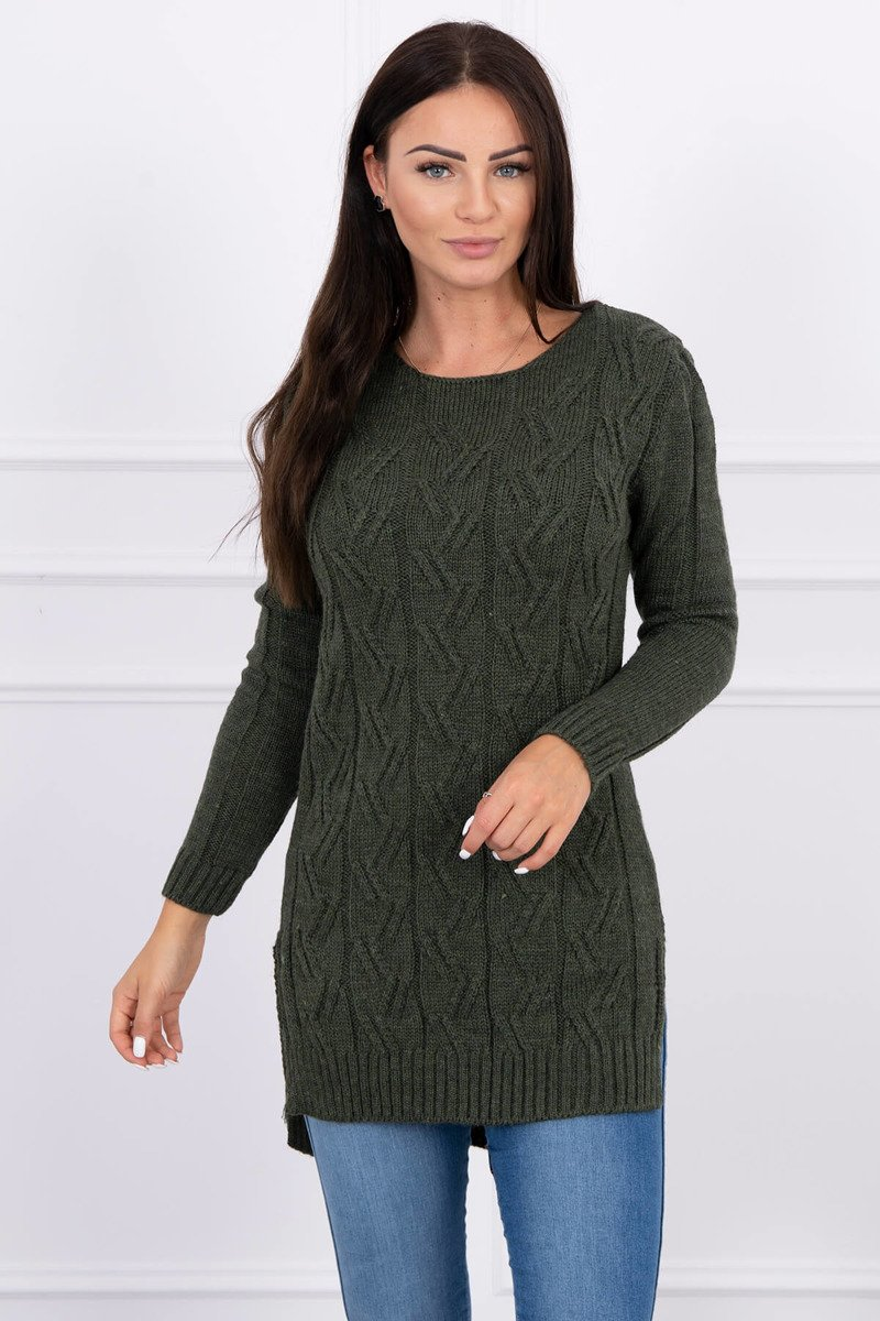 eng pl Sweater with longer back and weave in braid khaki 15528 1
