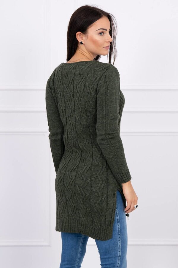 eng pl Sweater with longer back and weave in braid khaki 15528 2