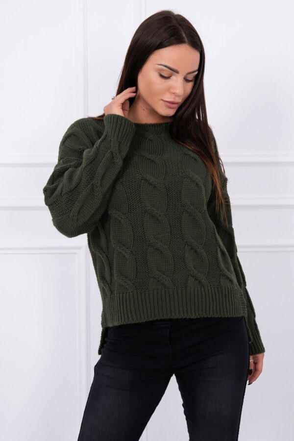 eng pl Sweater with longer back khaki 13404 3 1
