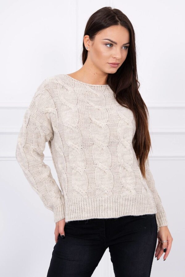 eng pl Sweater with longer back light beige 13505 4